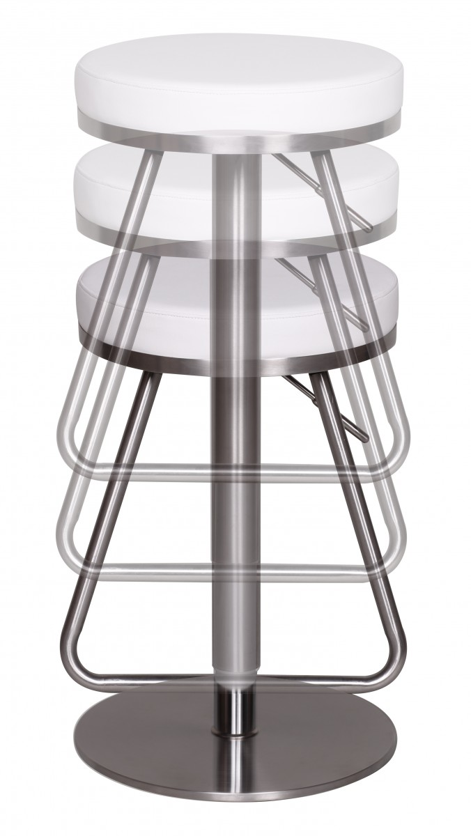Bar Stool Stainless Steel Brushed Faux Leather Swivel Kitchen Breakfast New Ebay