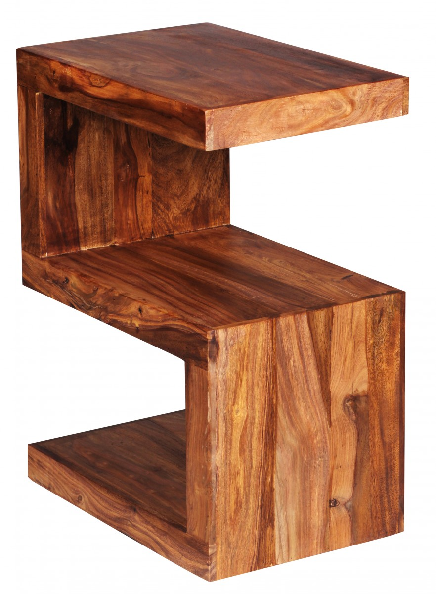 """Oak Side Table: Wohnling Solid Wood Side Table """"S"""" Cube 45 X 30 X 60cm"""
