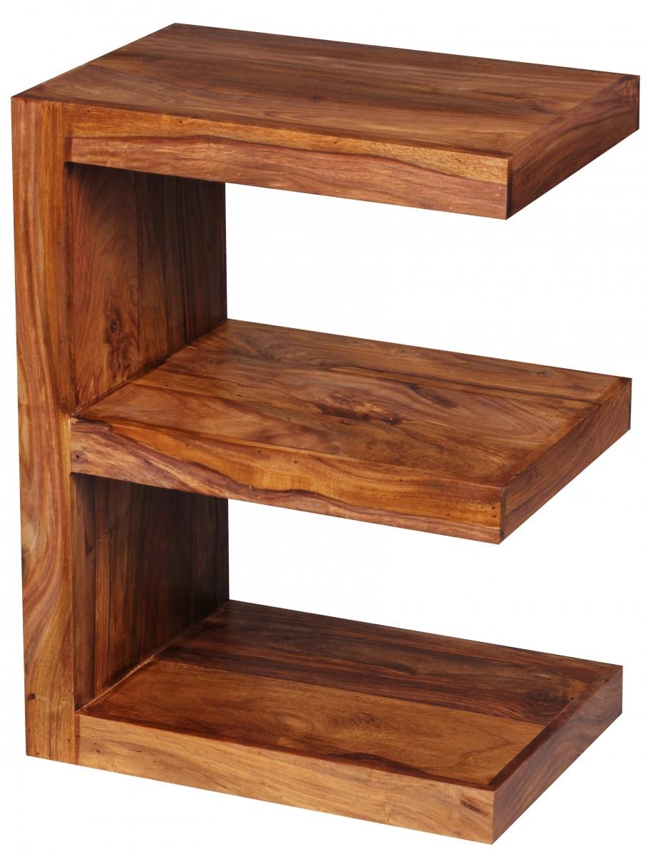 wohnling beistelltisch massivholz sheesham e cube 60cm hoch wohnzimmer tisch design braun. Black Bedroom Furniture Sets. Home Design Ideas