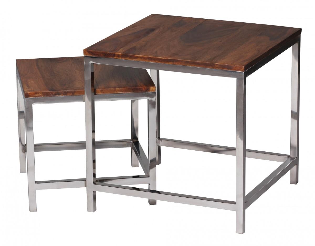wohnling 2er set satztisch massiv holz sheesham wohnzimmer tisch metallgestell landhausstil. Black Bedroom Furniture Sets. Home Design Ideas