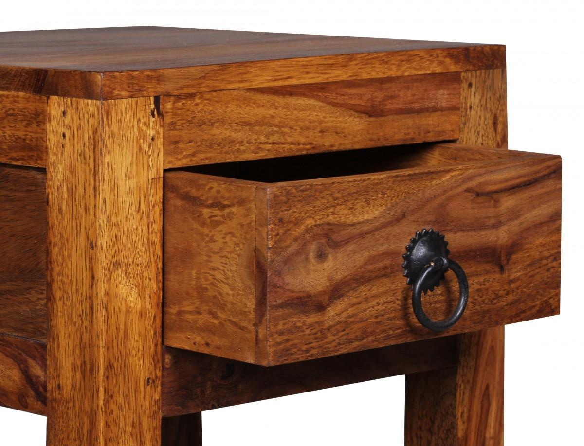 wohnling beistelltisch massiv holz sheesham 68cm hoch wohnzimmer tisch mit schublade design. Black Bedroom Furniture Sets. Home Design Ideas