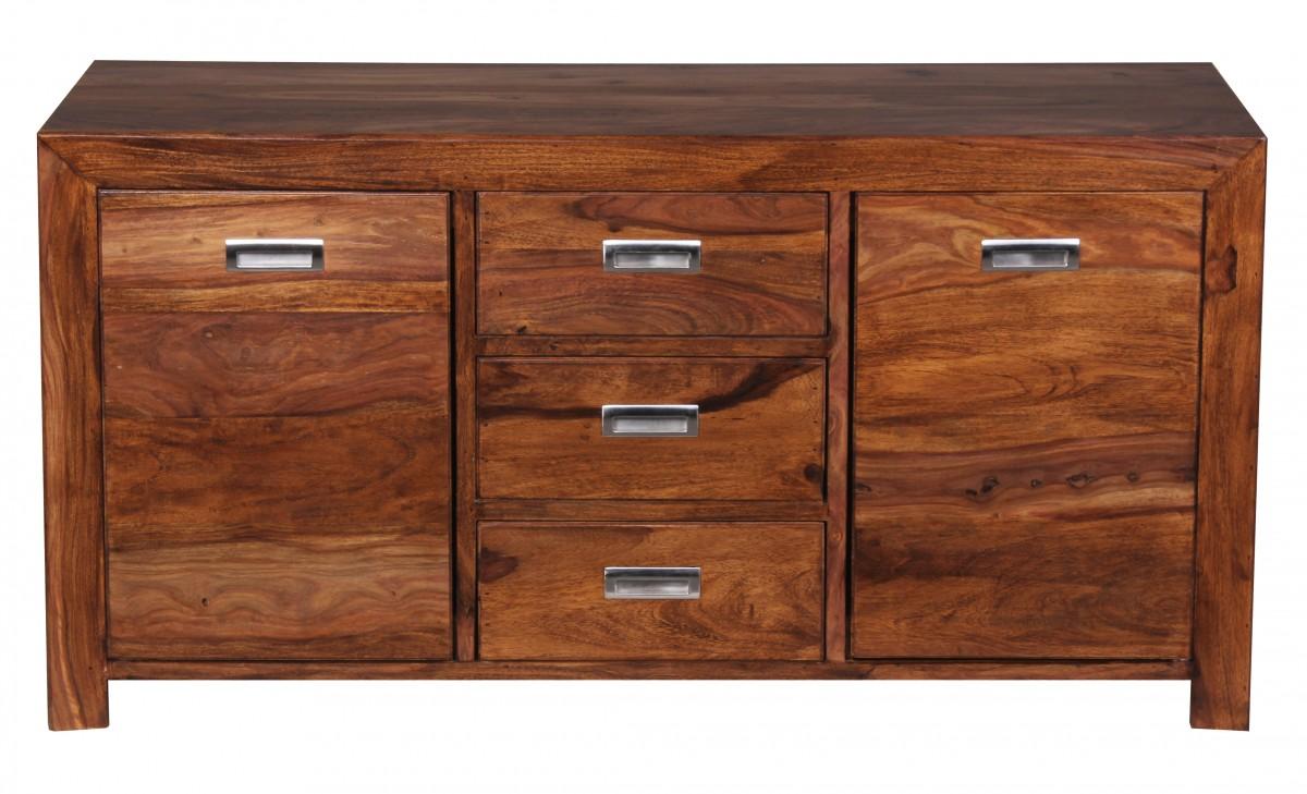 wohnling sheesham massiv sideboard 135 x 40 cm anrichte kommode massivholz neu ebay. Black Bedroom Furniture Sets. Home Design Ideas