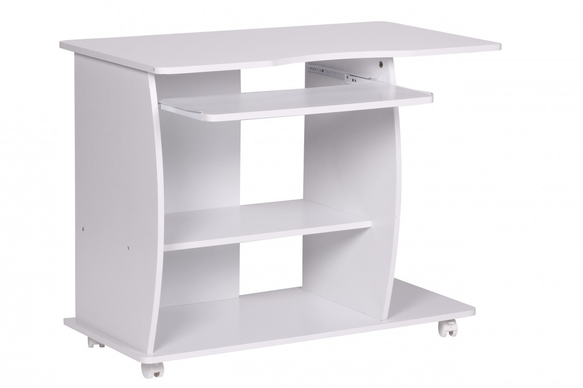 finebuy computertisch wei mit rollen 90 cm 34440. Black Bedroom Furniture Sets. Home Design Ideas