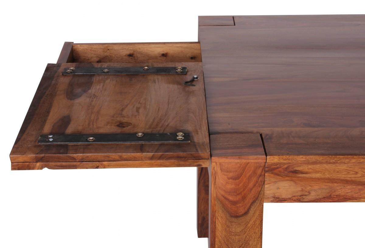 FineBuy Esstisch Massivholz Sheesham 160 - 240 cm ausziehbar Esszimmer-Tisch Design Küchentisch ...
