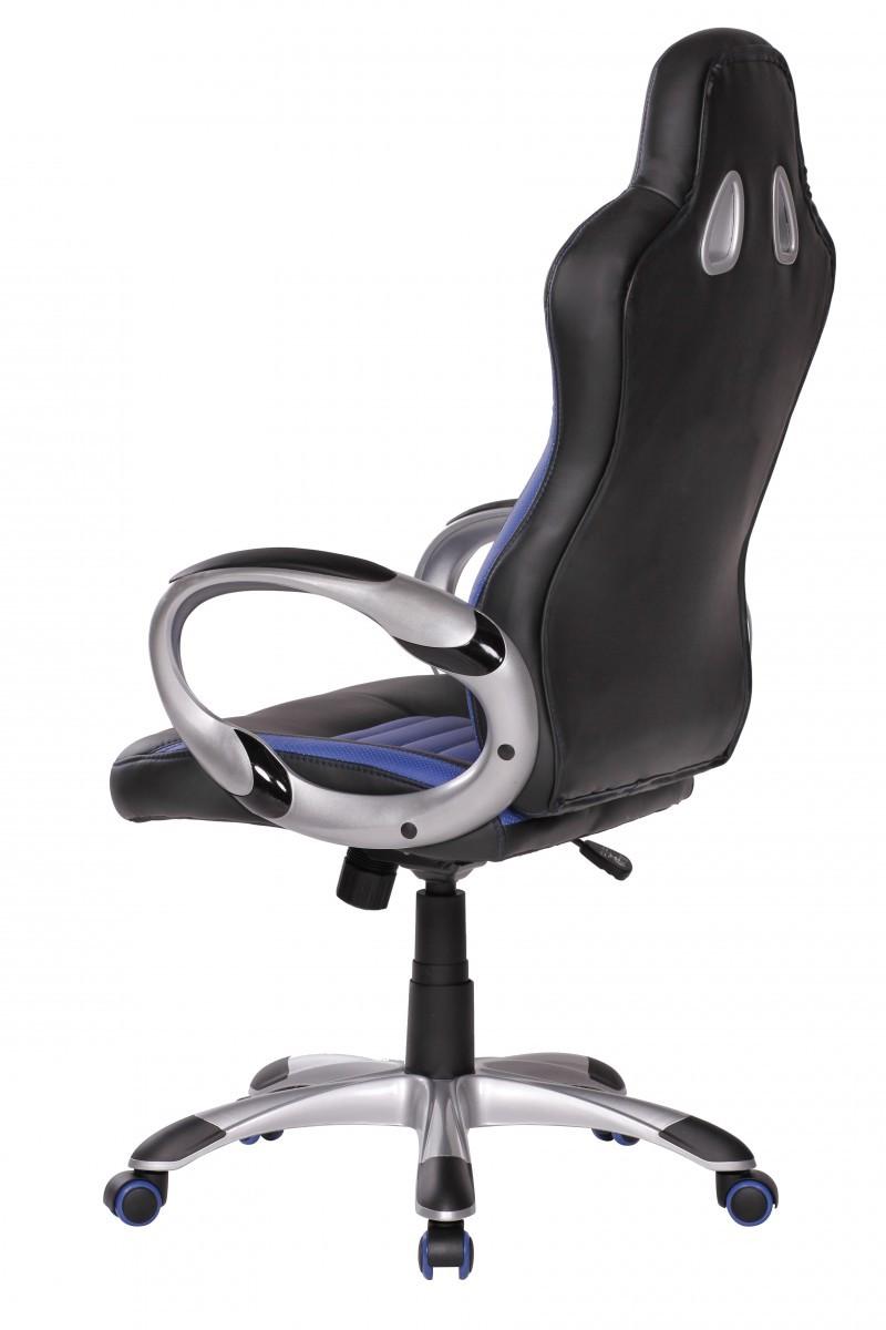 sport xxl racer b rostuhl chefsessel drehstuhl leder optik schwarz blau neu ebay. Black Bedroom Furniture Sets. Home Design Ideas