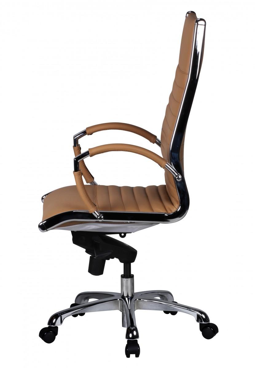 Amstyle ex cutif chaise de bureau caramel pivotant en cuir - Chaise cuir dossier haut ...