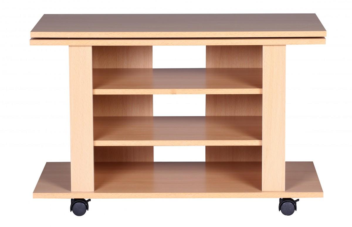 wohnling tv hifi bank buche fernsehtisch drehbar rollbar. Black Bedroom Furniture Sets. Home Design Ideas