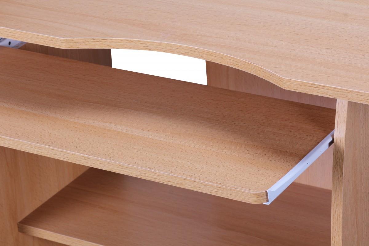 Wohnling computertisch diana buche mit rollen 90 cm 35994 for Computertisch buche