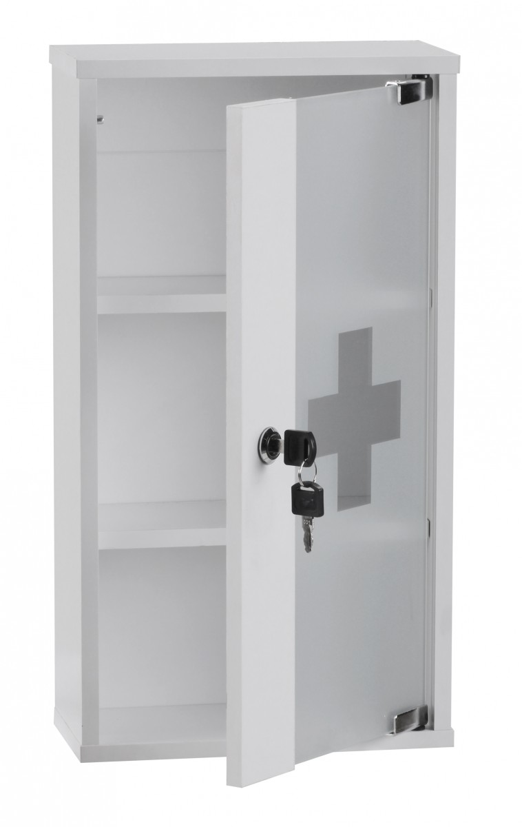 Wohnling First Aid Medicine Cabinet Lockable White Glass Door Bathroom Wall New Ebay