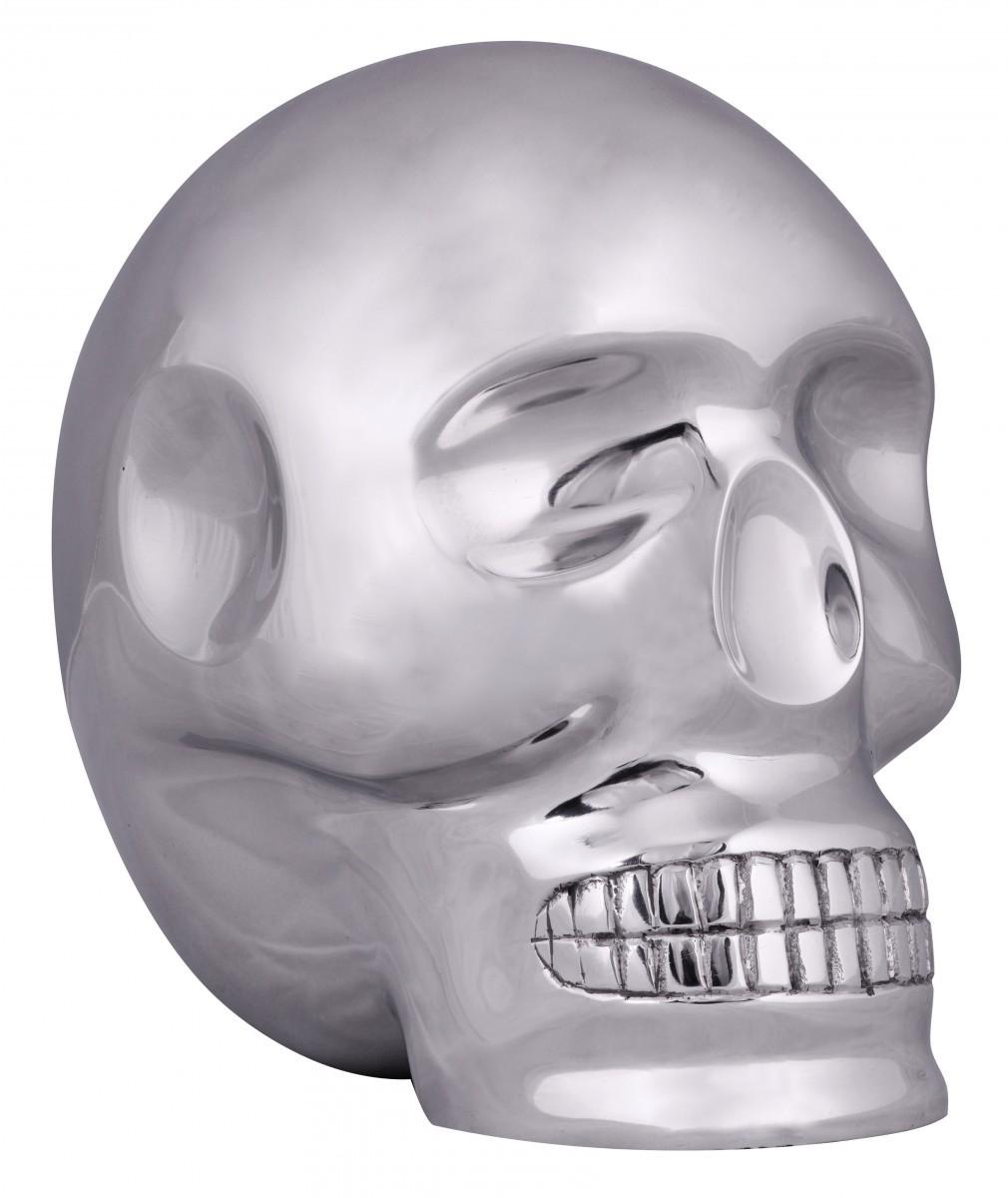 FineBuy Design XXL Deko Skull Aluminium silbern Schädel Totenkopf 36221