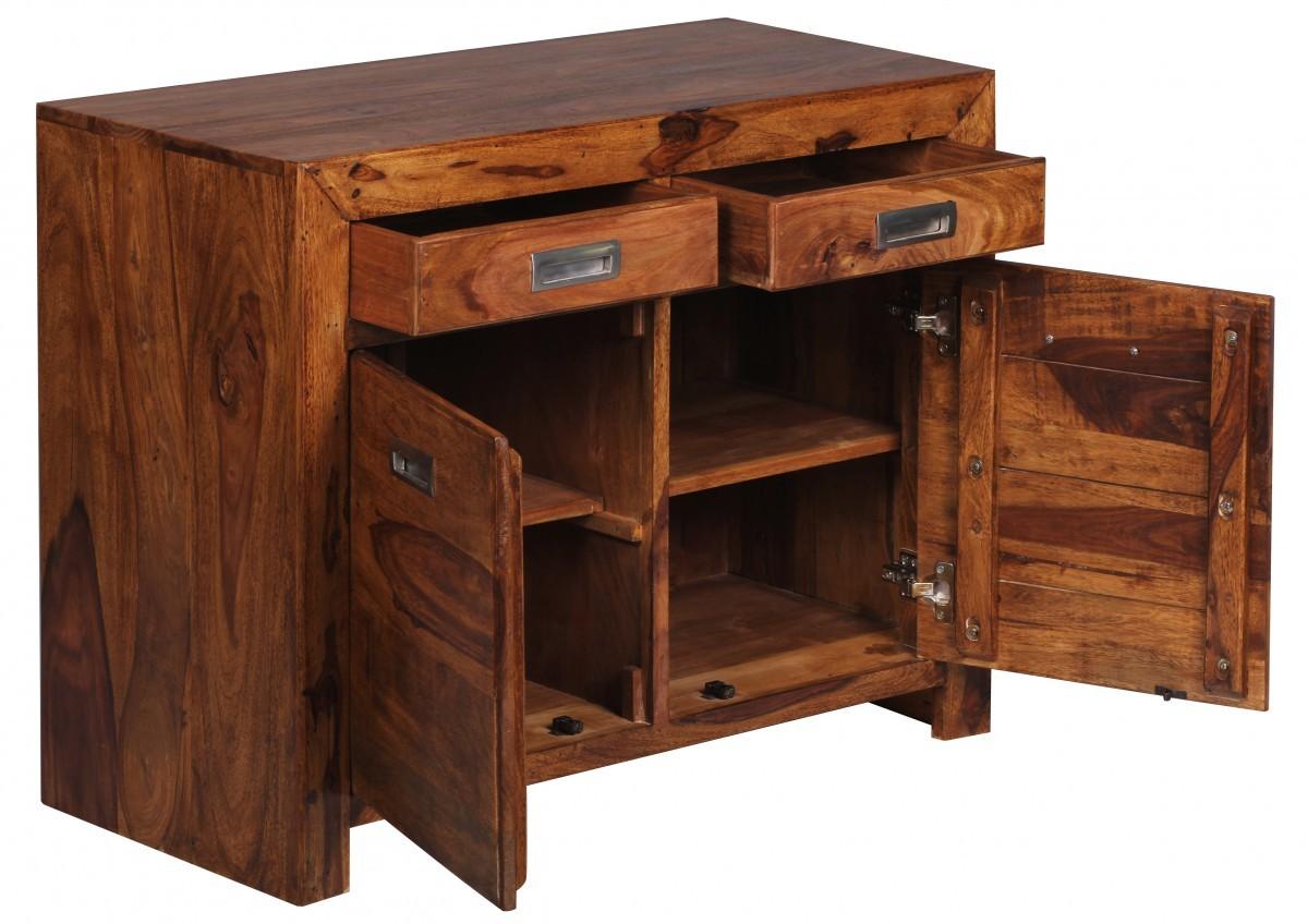 Finebuy sideboard massivholz sheesham kommode 90 cm 2 for Kommode 90 x 40