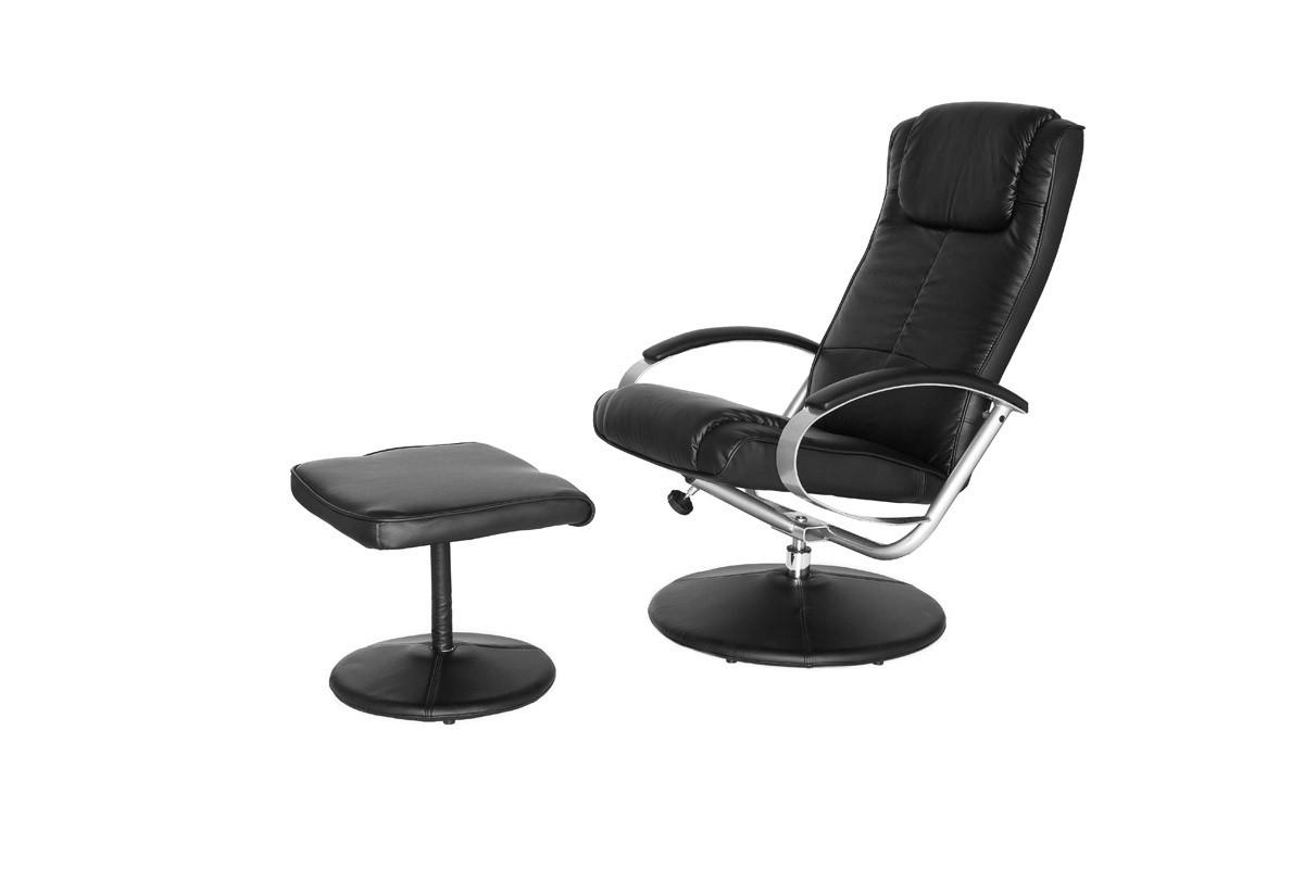 moderner fernsehsessel relaxsessel mit hocker schwarz armsessel tv sessel neu ebay. Black Bedroom Furniture Sets. Home Design Ideas