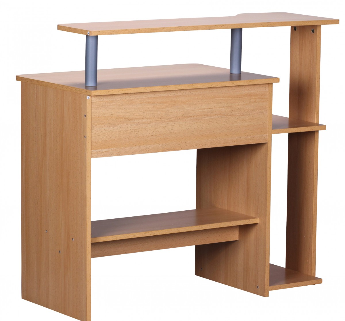 Wohnling computertisch dennis buche mit ablage pc tisch for Pc tisch buche