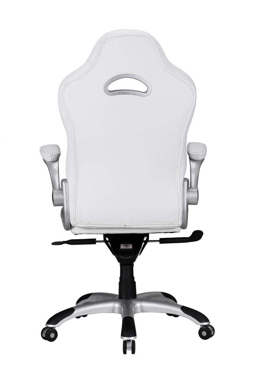 finebuy chefsessel leder optik wei grau mit armlehnen b rostuhl drehstuhl neu ebay. Black Bedroom Furniture Sets. Home Design Ideas