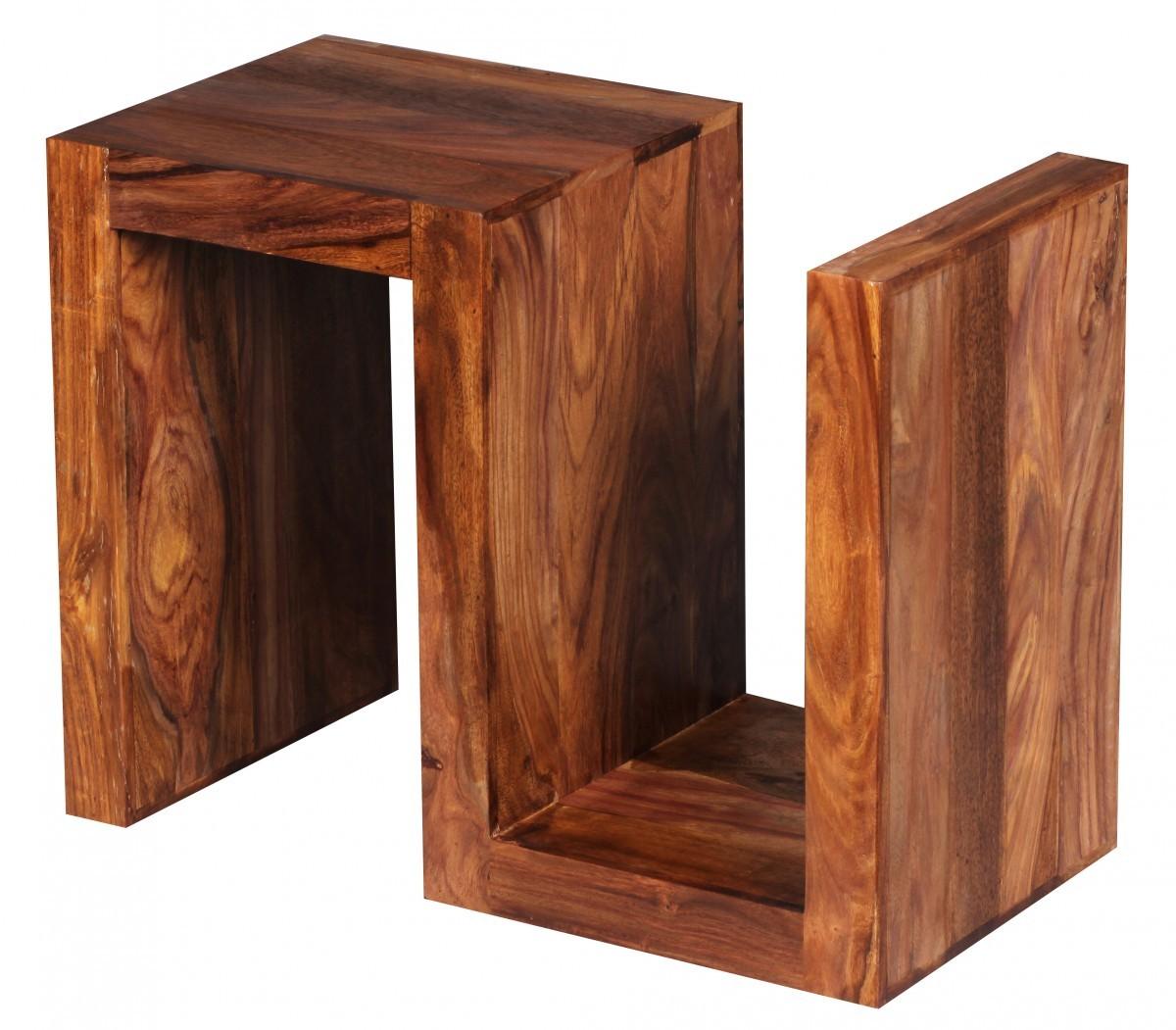 finebuy beistelltisch massivholz sheesham s cube 60cm hoch wohnzimmer tisch design braun