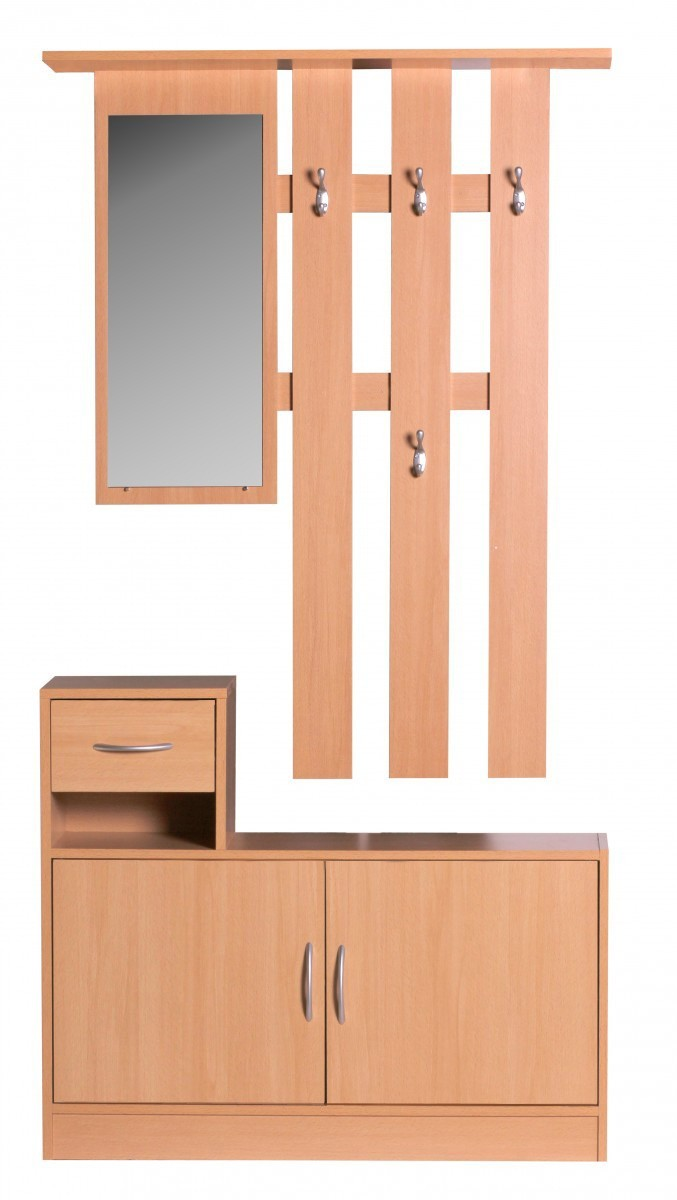 finebuy garderobe julia buche 90 cm mit spiegel. Black Bedroom Furniture Sets. Home Design Ideas
