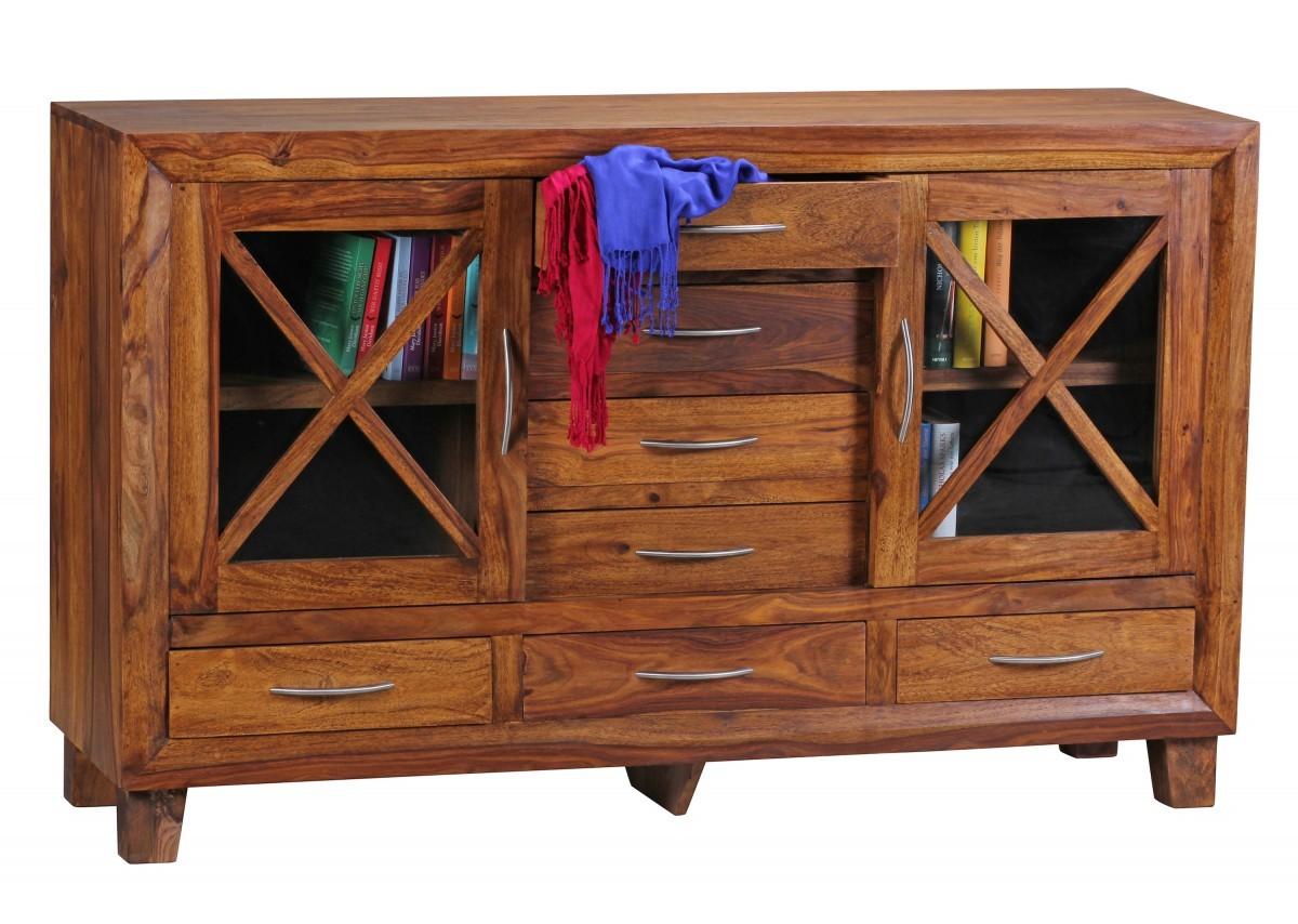 finebuy sideboard massivholz sheesham kommode 150 cm 7 schubladen 2 t ren anrichte highboard. Black Bedroom Furniture Sets. Home Design Ideas
