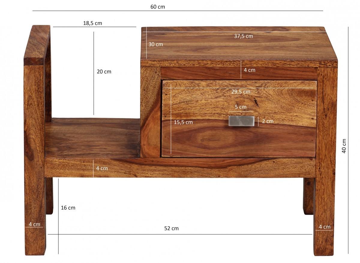 finebuy nachttisch massiv holz sheesham nacht kommode 40 cm hoch schublade mit zeitungsablage. Black Bedroom Furniture Sets. Home Design Ideas
