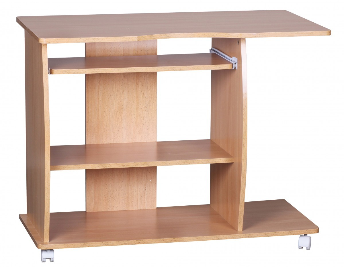 design computertisch wei mit rollen 90 cm schreibtisch pc tisch buche neu ebay. Black Bedroom Furniture Sets. Home Design Ideas