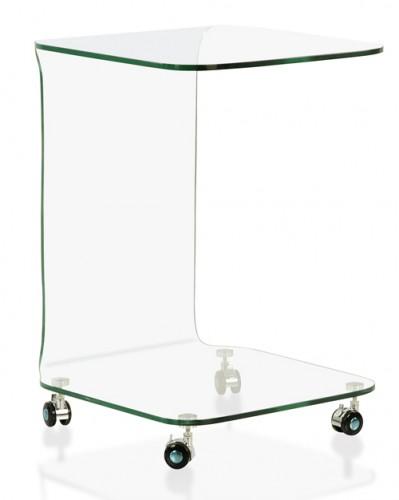 Design Beistelltisch mit Rollen Bruno 40 x 40 cm Glas
